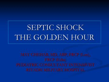 SEPTIC SHOCK THE GOLDEN HOUR - RM Solutions