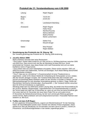 Protokoll der 31. Vorstandssitzung vom 4.06.2008