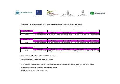 Poliba Calendario.Calendario Corsi Modulo B Obiettivo 1 Somacis