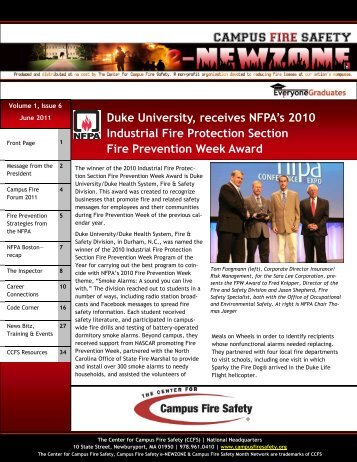 Industrial Fire Protection Section Fire Prevention Week Award
