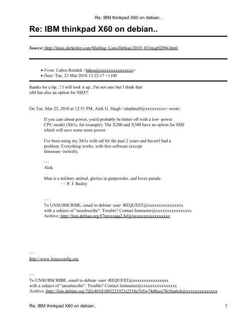 Re: IBM thinkpad X60 on debian   - DerKeiler Linux Archive