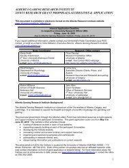 2010-11 Research Grant Guidelines & Grant Application - Alberta ...