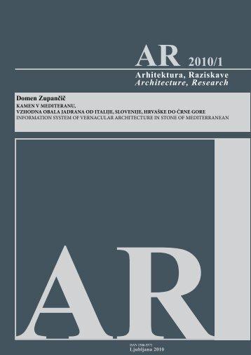 AR 2010/1 - Fakulteta za arhitekturo
