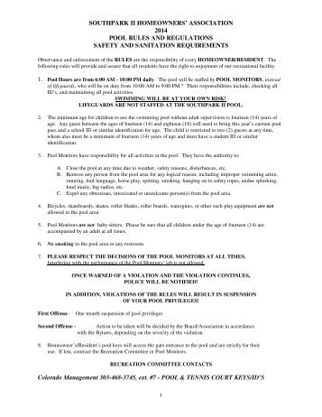 Grand bel ii condominium swimming pool rules and regulations - Florida condo swimming pool rules ...