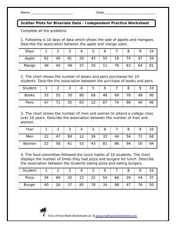 bivariate data worksheet free worksheets library download and print worksheets free on. Black Bedroom Furniture Sets. Home Design Ideas