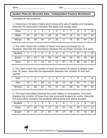 Scatter Plot Worksheet For questions 1-3 a. Identify the correlation ...