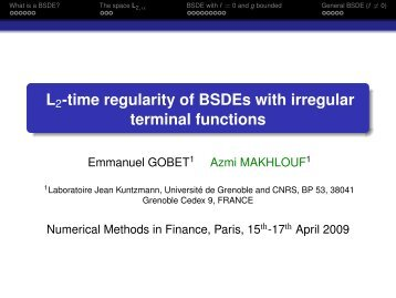 L2-time regularity of BSDEs with irregular terminal functions