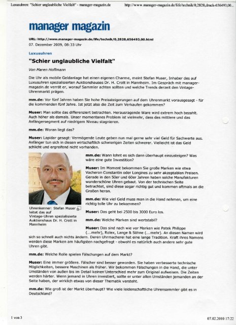 manager magazin - Auktionen Dr. Crott