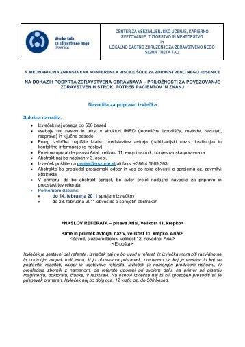 Navodila za pripravo izvlečka - Visoka Šola za zdravstveno nego ...