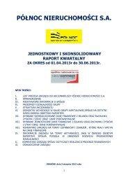 Raport okresowy Grupy PÓŁNOC Nieruchomości za II Q 2013.pdf