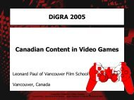 DiGRA 2005 Canadian Content in Video Games - Video Game Audio