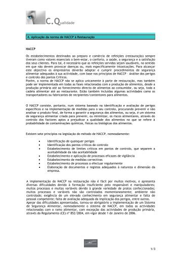 Aplicação da norma de HACCP à restauração / norma de ...