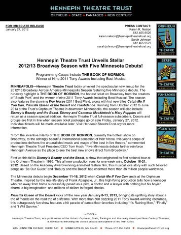 2012-13 Broadway Season Press Release - Hennepin Theatre Trust