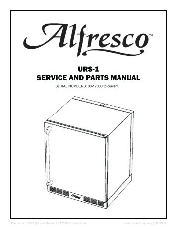 Technical Manual and Replacement Parts List Back Bar