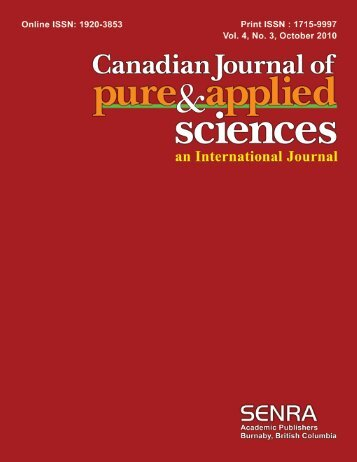 Oct-10 - Canadian Journal of Pure and Applied Sciences