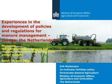 Experiences in the development of policies and regulations for ...