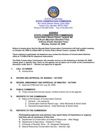 agenda state conservation commission i. ii. iii. iv. v. vi. - The Nevada ...