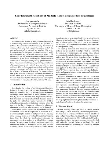 Coordinating the Motions of Multiple Robots with Specified ...