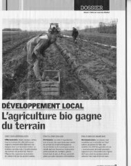 DEVELOPPEMENT LOCAL L'agriculture bio gagne du terrain - CAPE