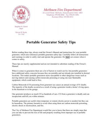 Portable Generator Safety Tips - Methuen