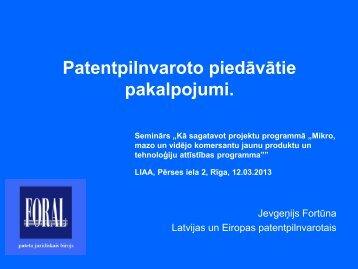 Patentpilnvaroto piedāvātie pakalpojumi. - LIAA