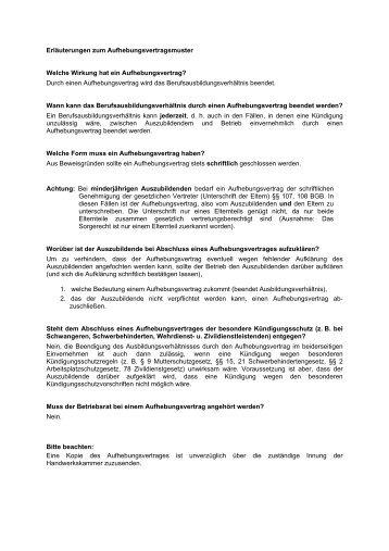 muster fr einen aufhebungsvertrag handwerkskammer hamburg - Aufhebungsvertrag Arbeitnehmer Muster