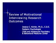 Review of Motivational Interviewing Research Outcomes