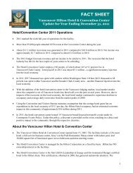 Hilton Hotel and Convention Center Fact Sheet - City of Vancouver