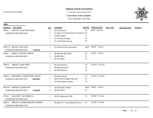 Clatsop County Corrections Corrections Active Inmates Jail