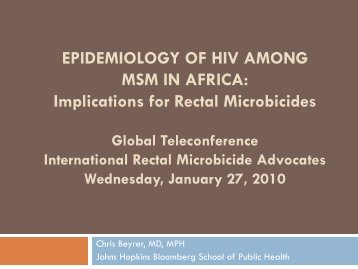 EPIDEMIOLOGY OF HIV AMONG MSM IN AFRICA
