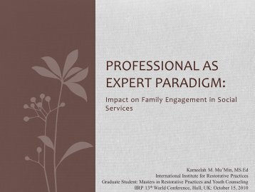 Professional as Expert Paradigm: - IIRP