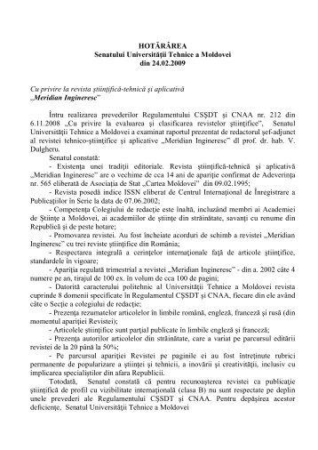 """Meridian Ingineresc"""". - Universitatea Tehnică a Moldovei"""