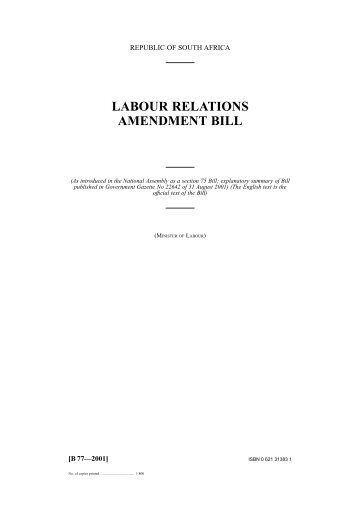 Labour Relations Amendment Bill 2001 - Workinfo.com