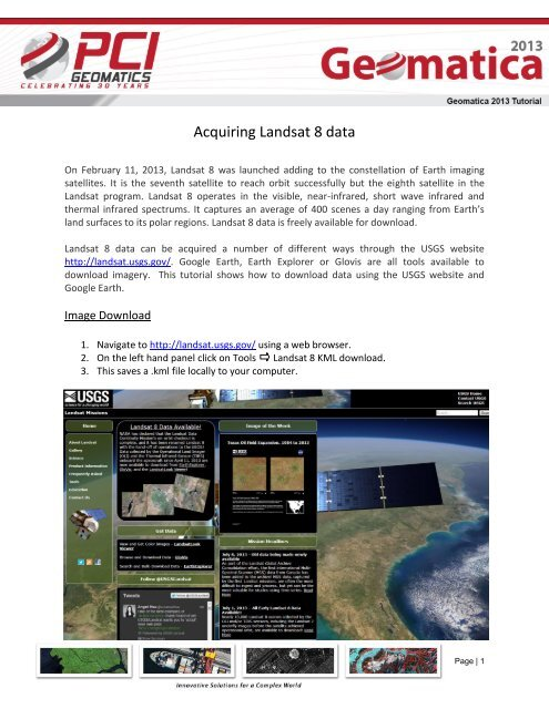 Landsat8 Download - PCI Geomatics