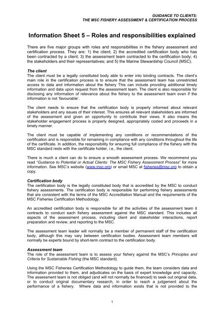 Information Sheet 5 Roles And Responsibilities Explained