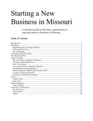 Reference Guide to Starting a New Business in Missouri