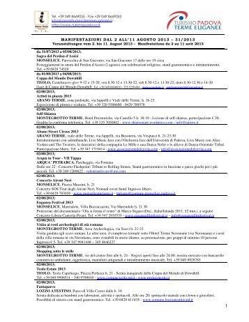 MANIFESTAZIONI DAL 3 AL 12 AGOSTO 2012 – 31 ... - Hotel Petrarca