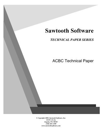 ACBC Technical Paper - Sawtooth Software, Inc.