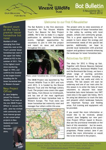 OB4B Newsletter - March 2012 - The Vincent Wildlife Trust