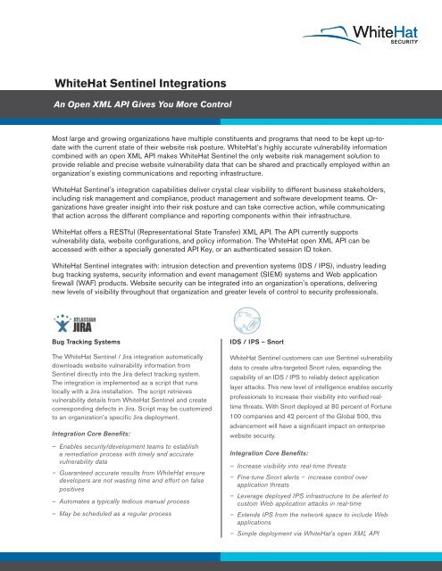WhiteHat Sentinel Integrations - WhiteHat Security 63dc0f00038d
