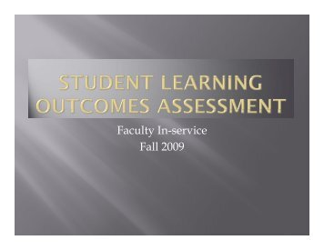 Student Learning Outcomes Assessment - Fall 2009 - New Mexico ...