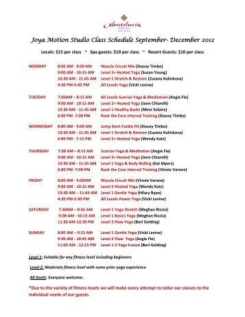 Joya Motion Studio Class Schedule September- December 2012