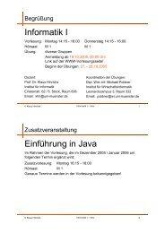 Informatik I Einführung in Java