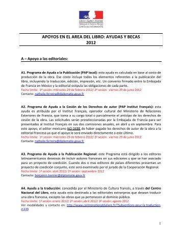apoyos en el area del libro: ayudas y becas 2012 - Embajada de ...
