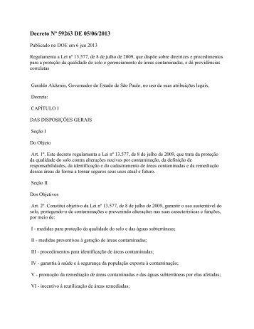 Decreto Nº 59263 DE 05/06/2013