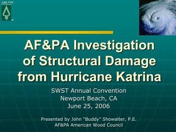 AF&PA Investigation of Structural Damage from Hurricane Katrina