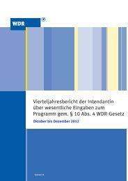 Vierteljahresbericht Oktober bis Dezember 2012 (PDF ... - WDR.de
