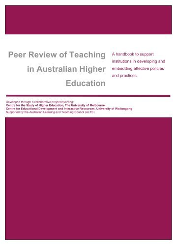Peer Review of Teaching in Australian Higher Education, handbook