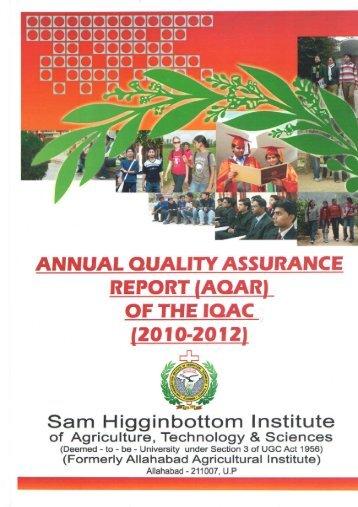 Annual Quality Assurance Report 2010-12 - Shiats.edu.in
