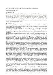 12. Sonntag nach Trinitatis am 18. August 2013, Ludwigskirche ...